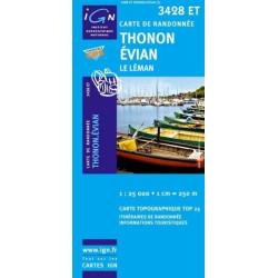 Achat Carte randonnées IGN Thonon Evian - Le Léman - 3428 ET