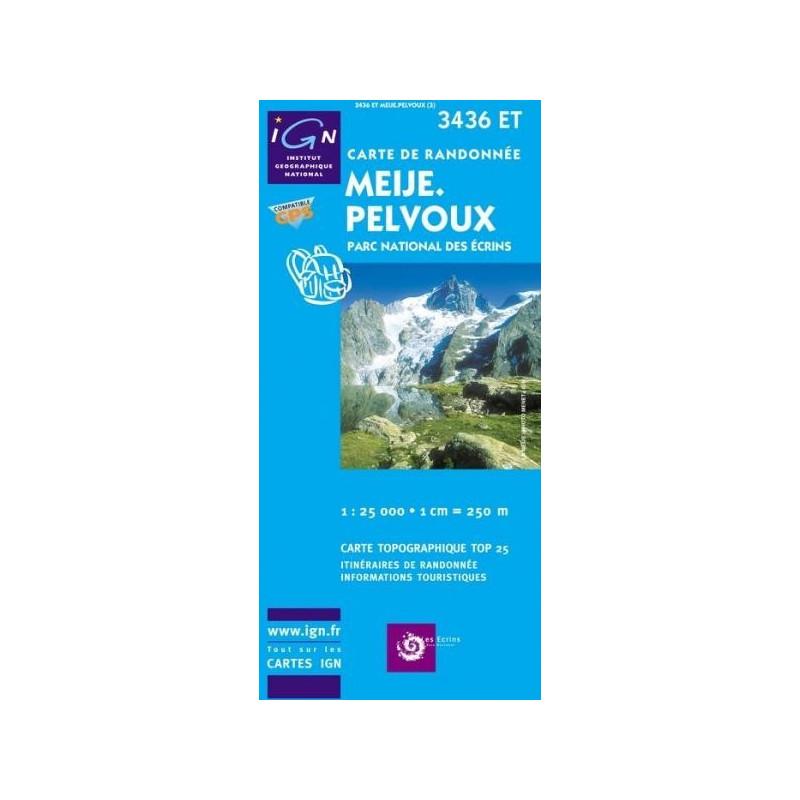Achat Carte randonnées IGN Meije Pelvoux - Parc National des Ecrins - 3436 ET