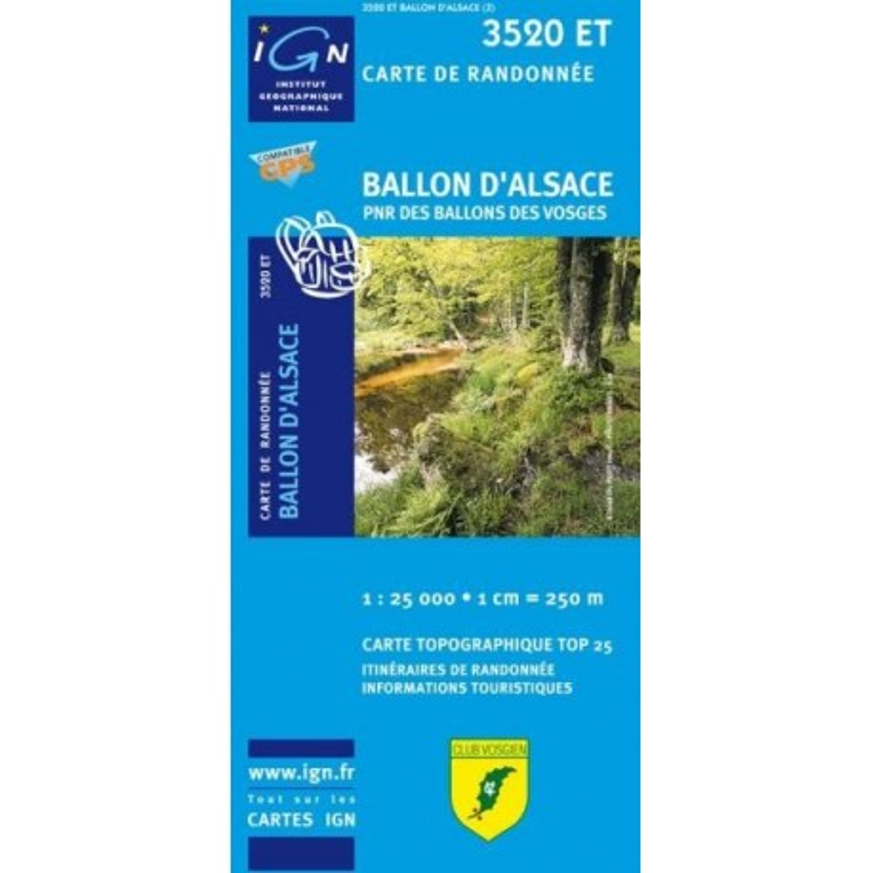 Achat Carte randonnées IGN Ballon d'Alsace - PNR des Ballons des Vosges - 3520 ET