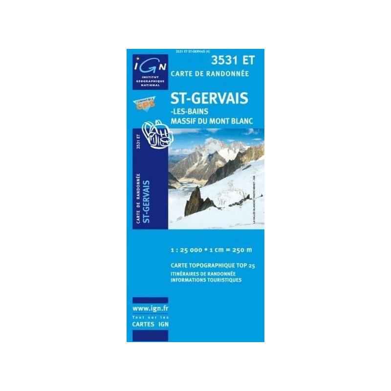 Achat Carte randonnées IGN St Gervais Les Bains - Massif du Mont Blanc - 3531 ET