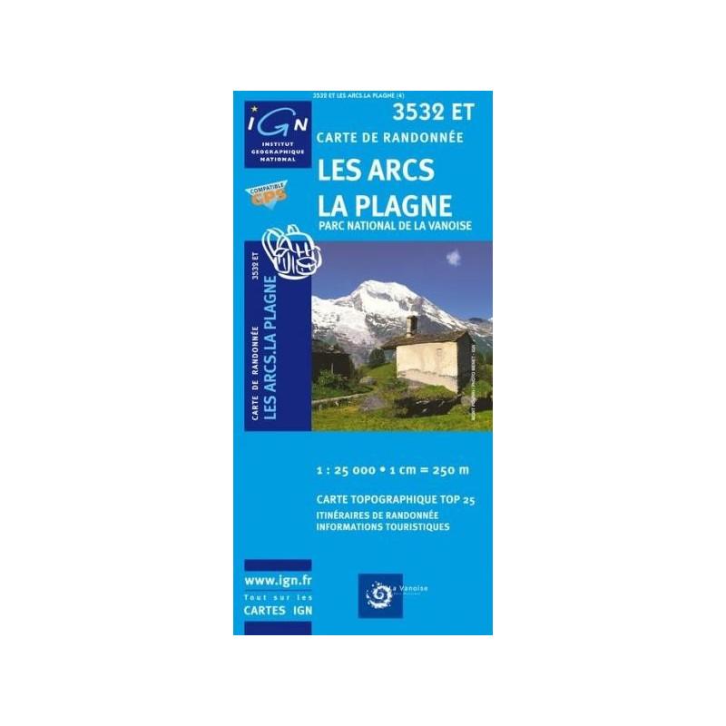 Achat Carte randonnées IGN Les Arcs La Plagne - Parc National de la Vanoise - 3532 ET