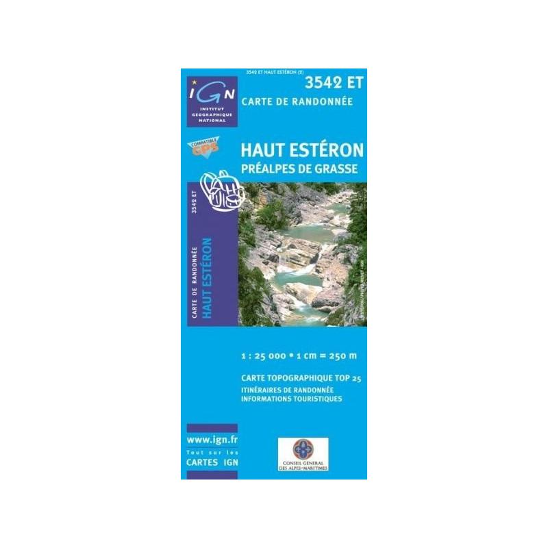 Carte randonnées IGN Haut Estéron - Préalpes de Grasse - 3542 ET