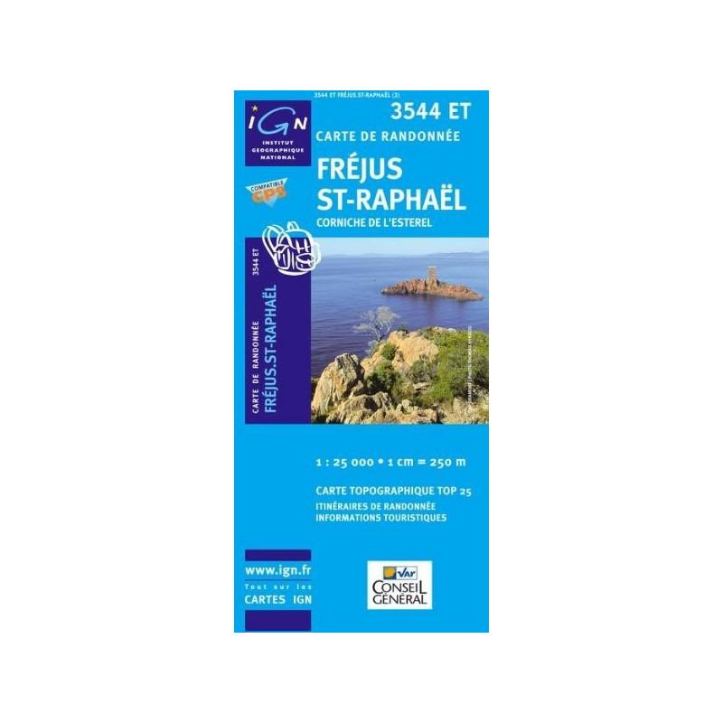 Achat Carte randonnées IGN Fréjus St Raphaël - Corniche de l'Esterel - 3544 ET