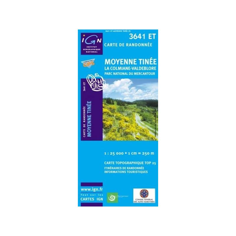Achat Carte randonnées IGN Moyenne Tinée - La Colmiane Valdeblore - 3641 ET