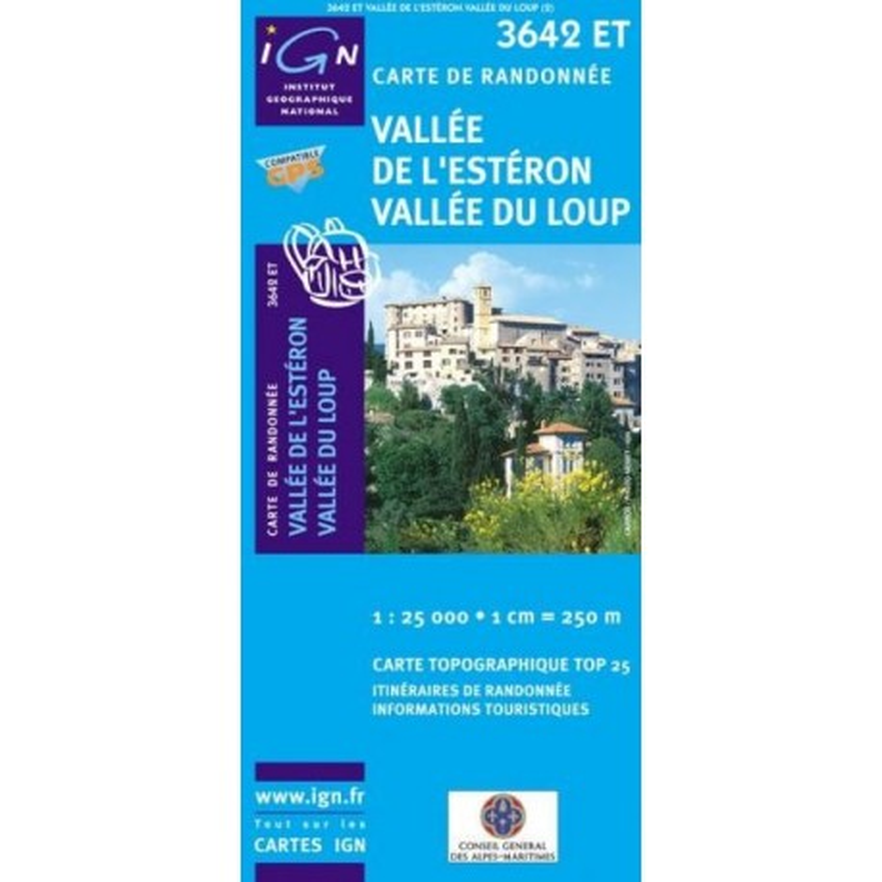 Carte randonnées IGN Vallée De l'Estéron Vallée Du Loup - 3642 ET