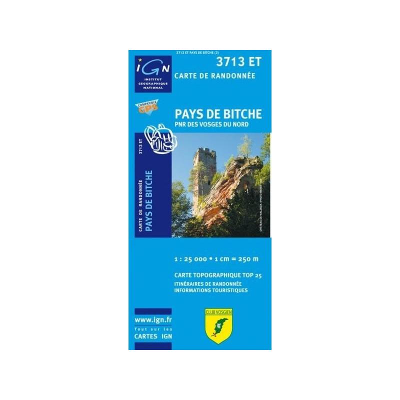 Achat Carte randonnées IGN Pays De Bitche - PNR des Vosges du Nord - 3713 ET