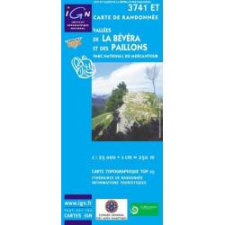 Carte randonnées IGN Vallées De La Bévéra Et Des Paillons -  Parc National du Mercantour - 3741 ET
