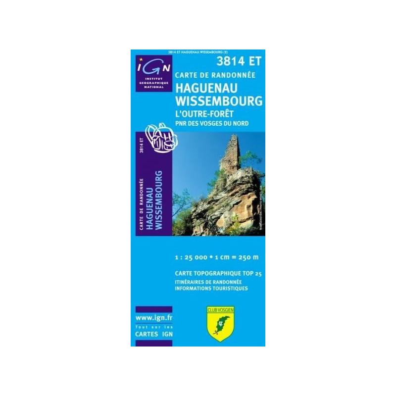 Achat Carte randonnées IGN Haguenau Wissembourg - l'Outre Forêt - 3814 ET