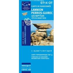 Achat Carte randonnées IGN Lannion Perros Guirec - Les sept îles - 0714 OT