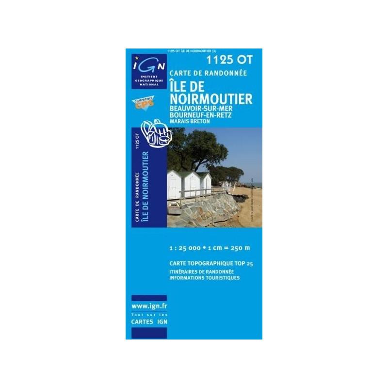 Achat Carte randonnées IGN Île De Noirmoutier - Beauvoir sur Mer Bourneuf en Retz - 1125 OT