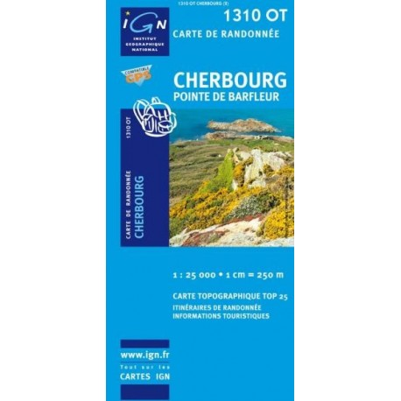Achat Carte randonnées IGN - 1310 OT - Cherbourg - Pointe de Barfleur