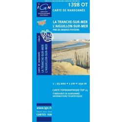 Achat Carte randonnées IGN - 1328 OT - La Tranche Sur Mer l'Aiguillon Sur Mer - PNR du Marais Poitevin
