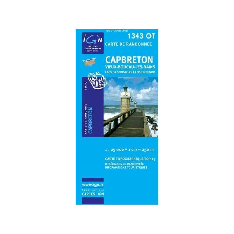 Achat Carte randonnées IGN - 1343 OT - Capbreton - Vieux Boucau les Bains