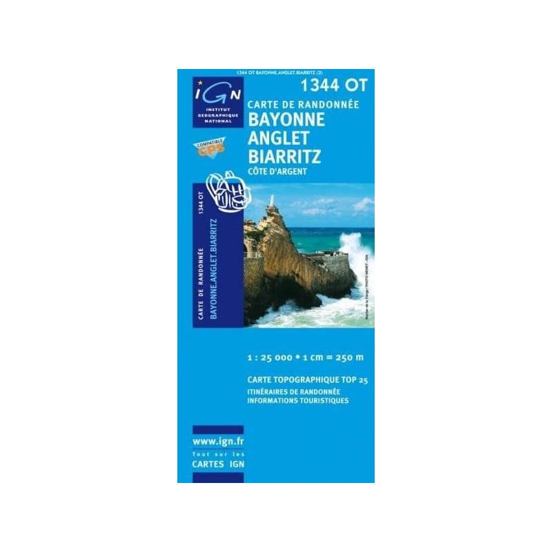 Achat Carte randonnées IGN - 1344 OT - Bayonne Anglet Biarritz - Côte d'Argent