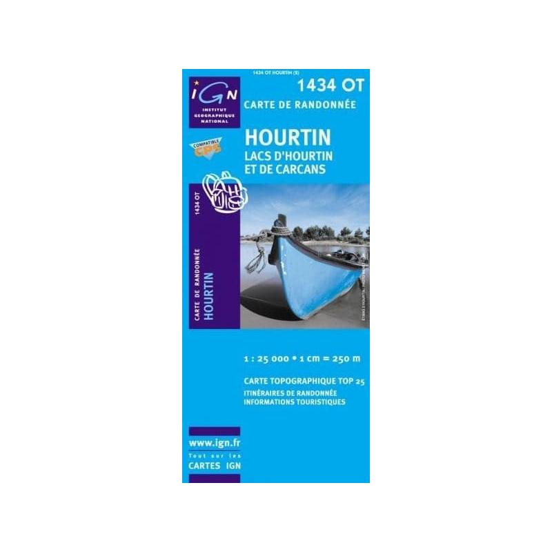Achat Carte randonnées IGN - 1434 OT - Hourtin - Lacs d'Hourtin et de Carcans