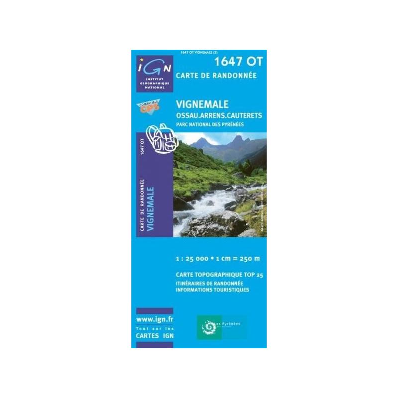 Achat Carte randonnées IGN - 1647 OT - Vignemale - Ossau Arrens Cauterets