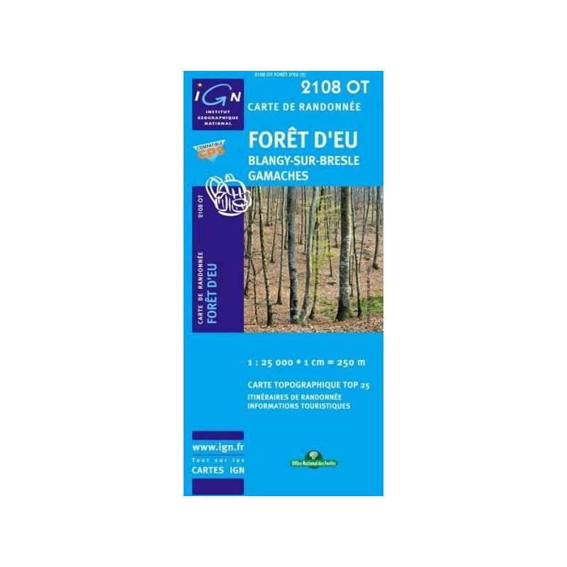 Achat Carte randonnées IGN - 2108 OT - Forêt d'Eu - Blangy sur Bresle Gamaches