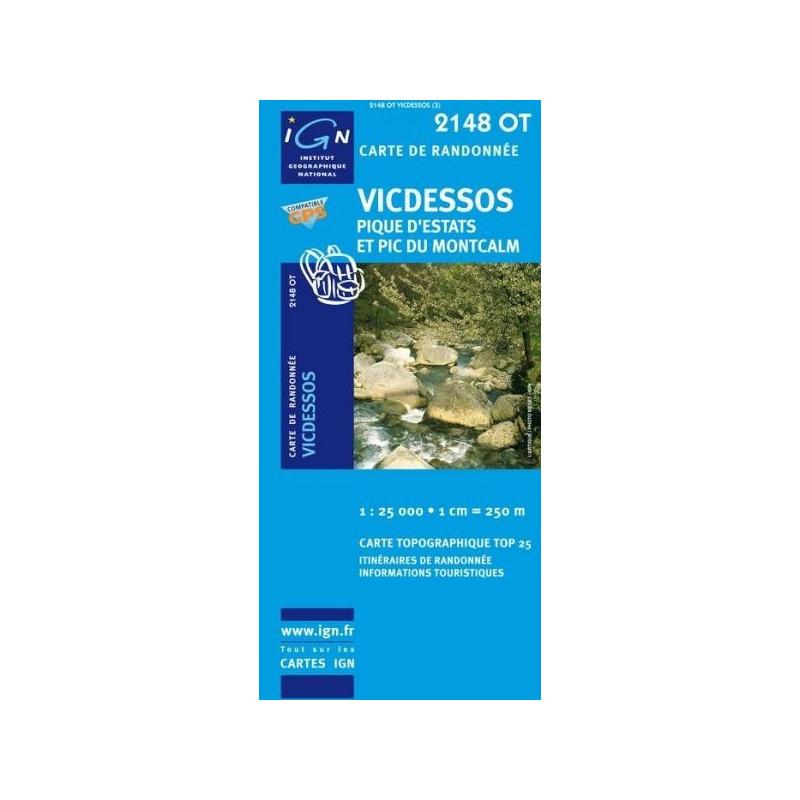 Achat Carte randonnées IGN - 2148 OT - Vicdessos - Pique d'Estats et Pic du Montcalm