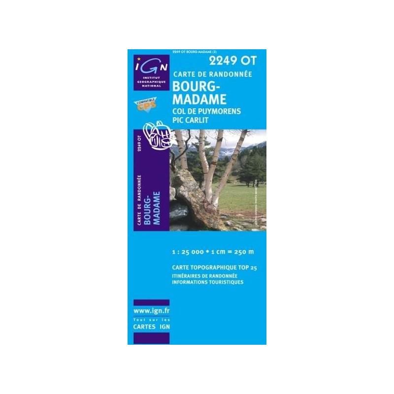 Achat Carte randonnées IGN - 2249 OT - Bourg Madame - Col de Puymorens Pic Carlit