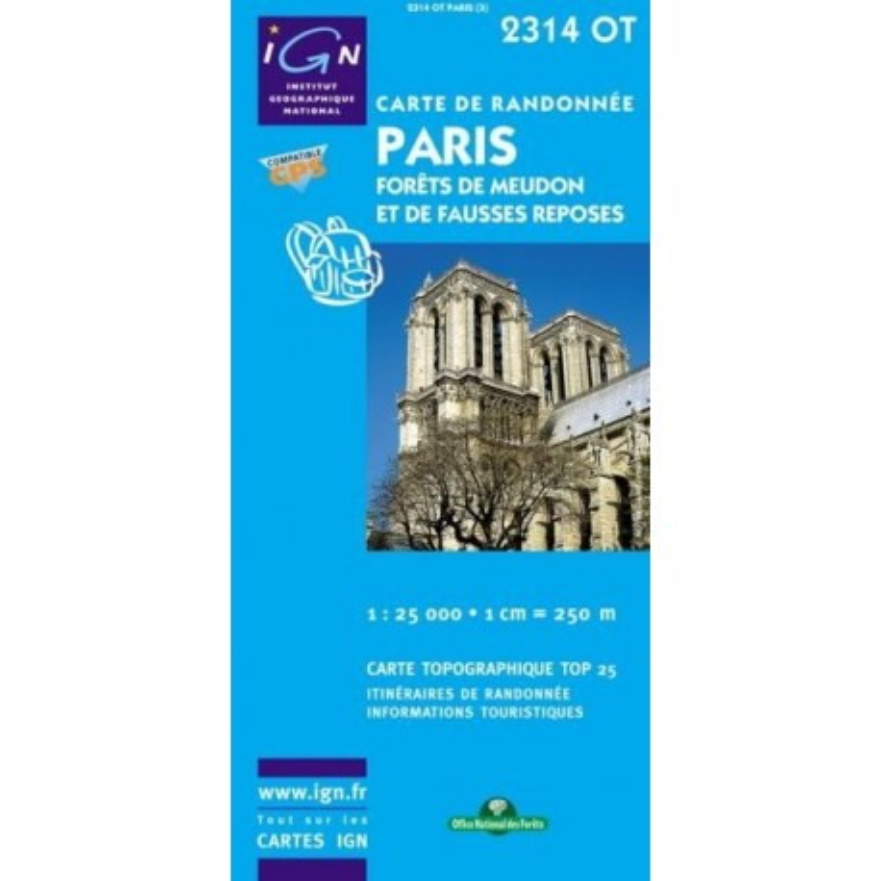 Achat Carte randonnées IGN - 2314 OT - Paris - Forêts de Meudon et de Fausses Reposes