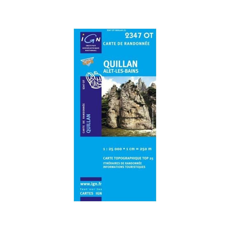 Achat Carte randonnées IGN - 2347 OT - Quillan - Alet les Bains