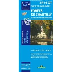 Achat Carte randonnées IGN - 2412 OT - Forêts De Chantilly - d'Halatte et d'Ermenonville
