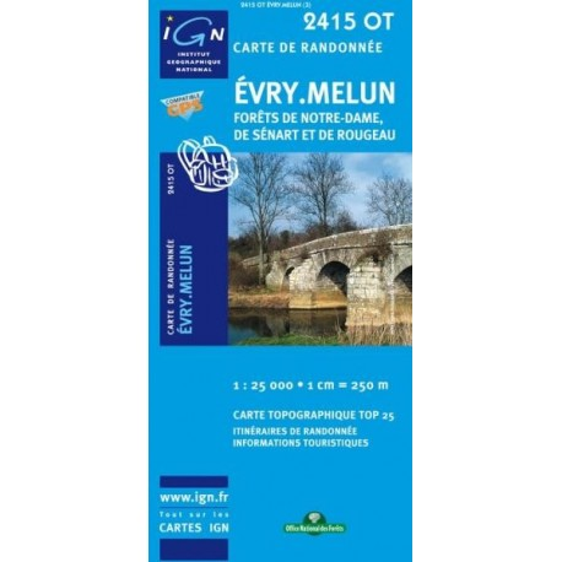 Achat Carte randonnées IGN - 2415 OT - Evry Melun - Forêts de Notre Dame de Sénart et de Rougeau
