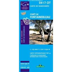 Achat Carte randonnées IGN - 2417 OT - Forêt De Fontainebleau