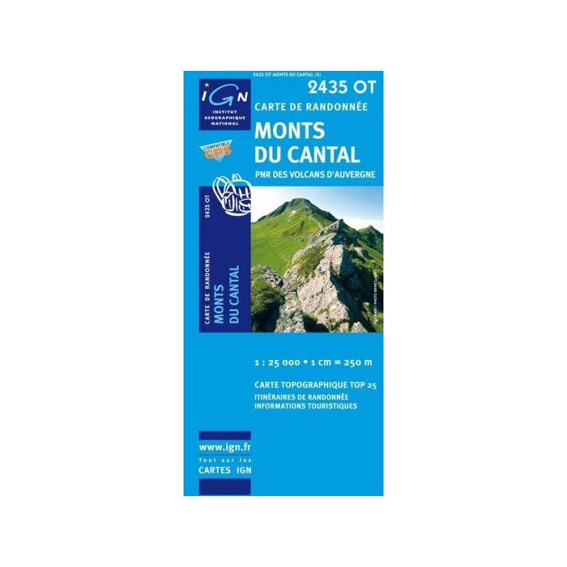 Achat Carte randonnées IGN - 2435 0T - Monts Du Cantal - PNR des volcans d'Auvergne