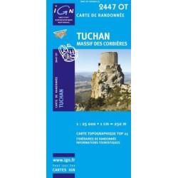 Achat Carte randonnées IGN - 2447 OT - Tuchan - Massif des Corbières