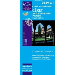 Achat Carte randonnées IGN - 2449 OT - Céret - Amélie les Bains Palalda