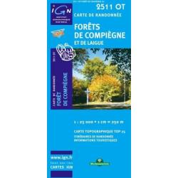 Achat Carte randonnées IGN - 2511 OT - Forêts De Compiègne Et De Laigue