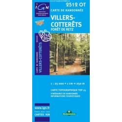 Achat Carte randonnées IGN - 2512 OT - Villers Cotterêts - Forêt de Retz