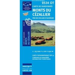 Achat Carte randonnées IGN - 2534 OT - Monts Du Cézallier - PNR des volcans d'Auvergne