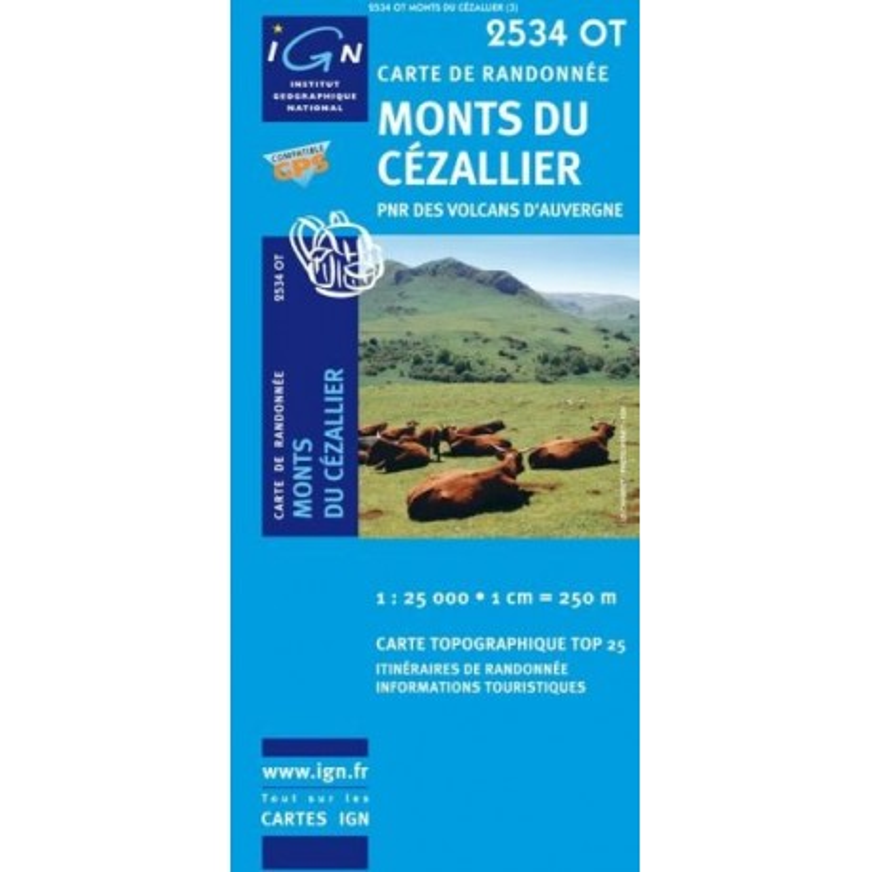 Carte randonnées IGN - 2534 OT - Monts Du Cézallier - PNR des volcans d'Auvergne