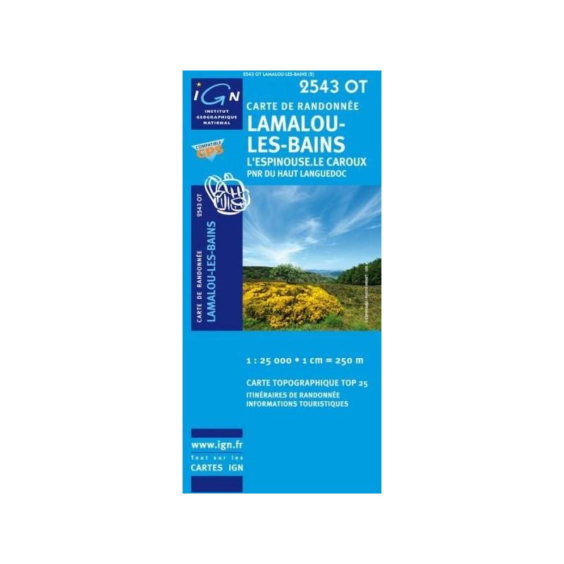 Achat Carte randonnées IGN - 2543 OT - Lamalou Les Bains - l'Espinouse le Caroux