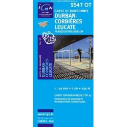 Achat Carte randonnées IGN - 2547 OT - Durban Corbières Leucate - Plages du Roussillon