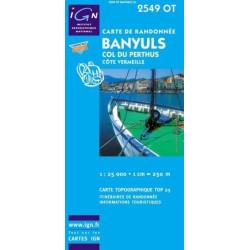 Achat Carte randonnées IGN - 2549 OT - Banyuls - Col du Perthus
