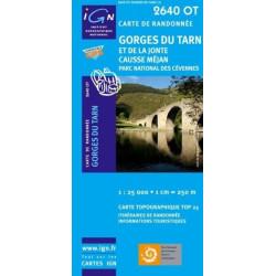 Achat Carte randonnées IGN - 2640 OT - Gorges Du Tarn Et De La Jointe Causse Méjan