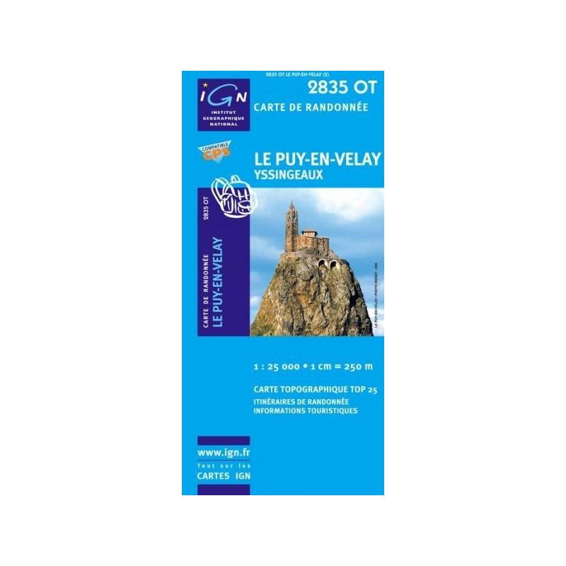 Achat Carte randonnées IGN - 2835 OT - Le Puy En Velay - Yssingeaux