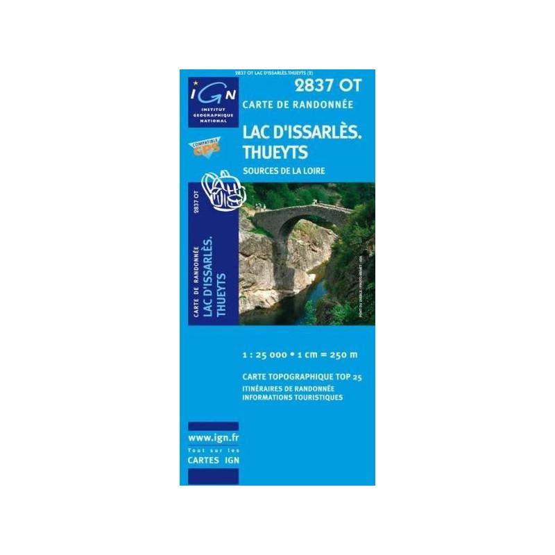 Achat Carte randonnées IGN - 2837 OT - Lac d'Issarlès Thueyts - Sources de la Loire