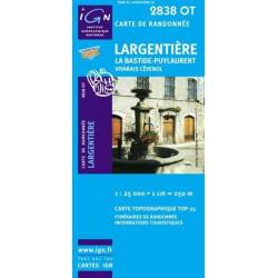 Achat Carte randonnées IGN - 2838 OT - Largentière - La Bastide Puylaurent