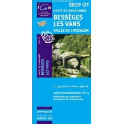 Achat Carte randonnées IGN - 2839 OT - Bessèges Les Vans - Vallée du Chassezac