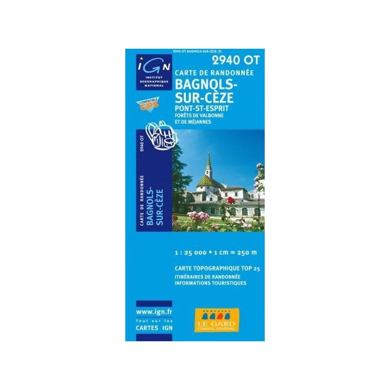Achat Carte randonnées IGN - 2940 OT - Bagnols Sur Cèze - Pont St Esprit