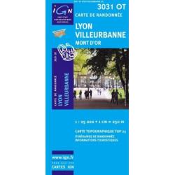 Achat Carte randonnées IGN - 3031 OT - Lyon Villeurbanne - Mont d'Or