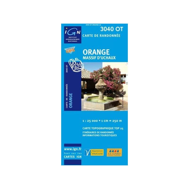 Achat Carte randonnées IGN - 3040 OT - Orange - Massif d'Uchaux