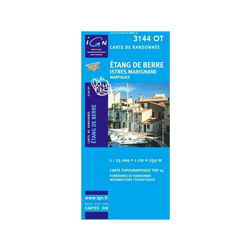 Achat Carte randonnées IGN - 3144 OT - Etang De Berre - Istres Marignane