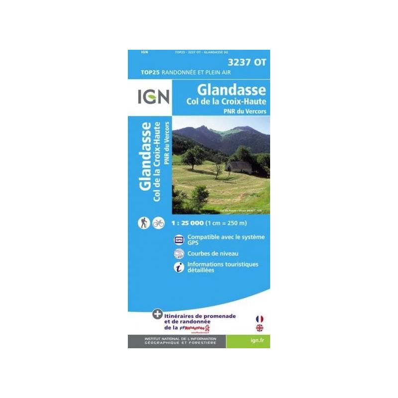 Achat Carte randonnées IGN - 3237 OT - Glandasse - Col de la Croix Haute