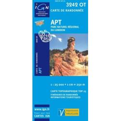 Achat Carte randonnées IGN - 3242 OT - Apt - Parc naturel régional du Luberon