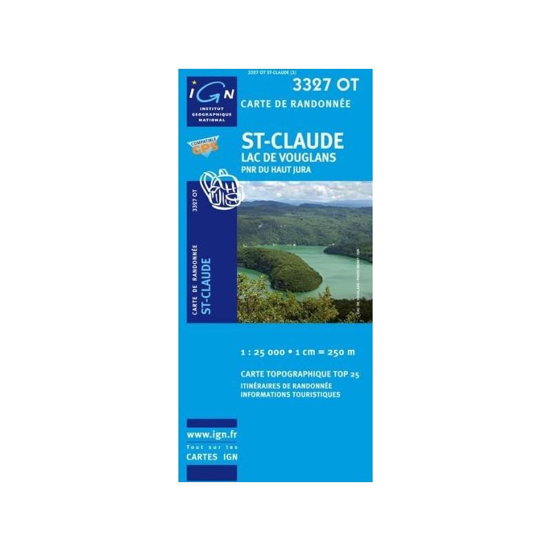 Achat Carte randonnées IGN - 3327 OT - St Claude - Lac de Vouglans